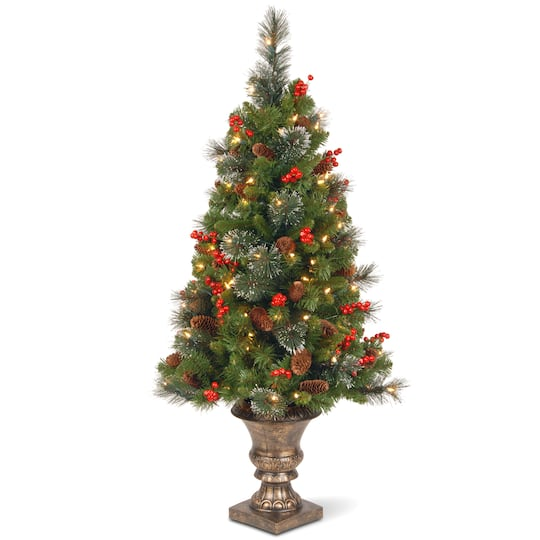 pre lit pre decorated potted crestwood spruce slim artificial christmas tree clear lights - Pre Decorated Artificial Christmas Trees